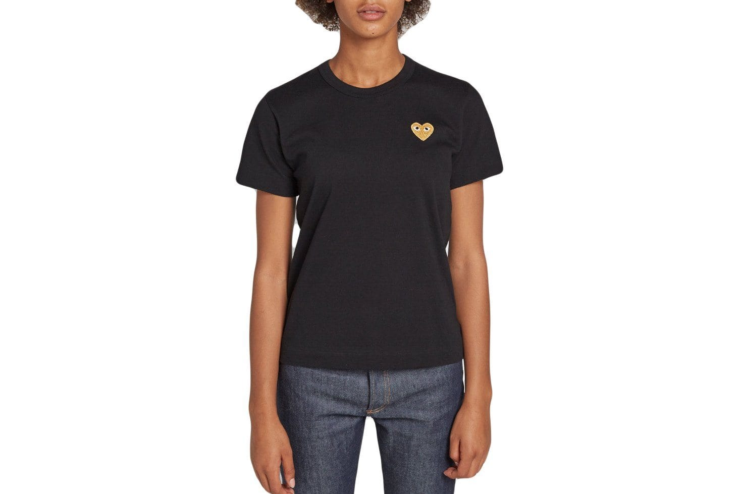 GOLD HEART BLACK TEE WOMENS SOFTGOODS COMME DES GARCONS BLACK S