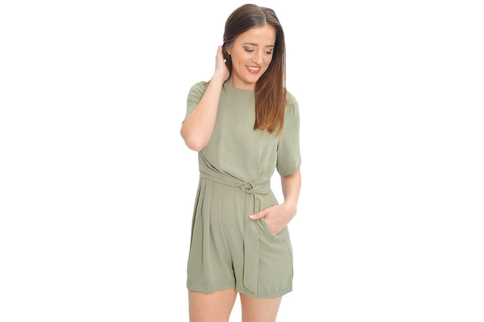 D-RING WAIST STRAP PLAYSUIT - IB19S1453 WOMENS SOFTGOODS MINK PINK