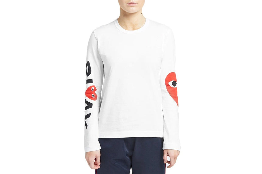 RED HEARTS RIGHT SLEEVE WOMENS SOFTGOODS COMME DES GARCONS