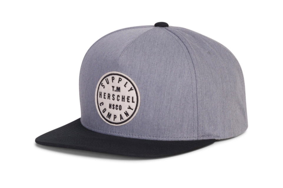 TM COTTON HATS HERSCHEL HEATHER GREY/ BLACK ONE SIZE
