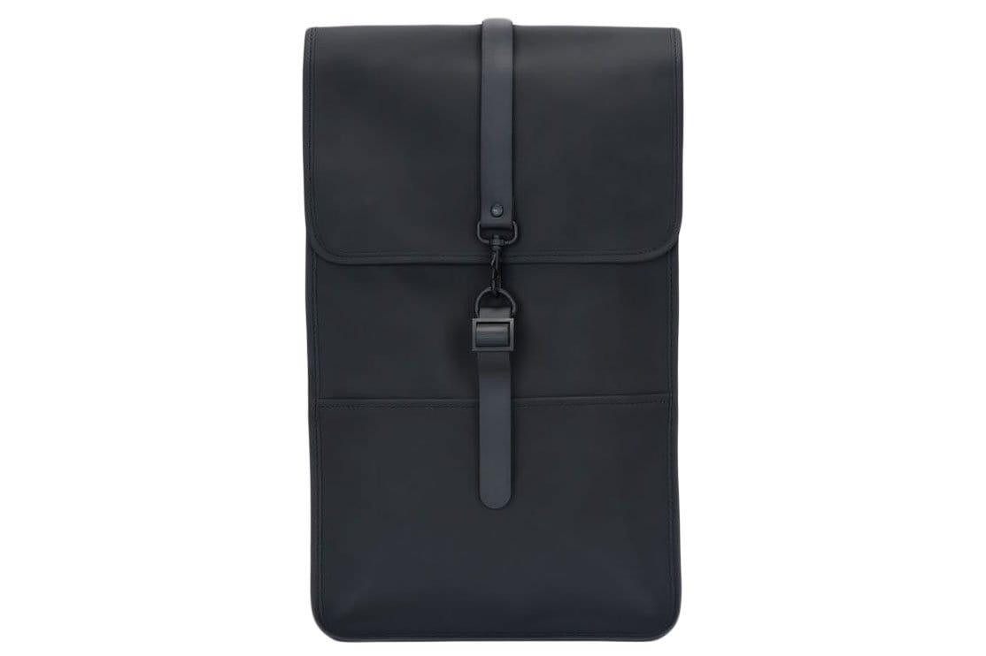 Rains brand black backpack. Water resistant fabric.