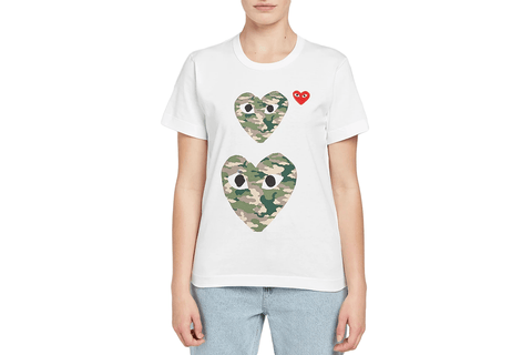 SMALL RED HEART/TWO CAMO HEARTS WOMENS SOFTGOODS COMME DES GARCONS