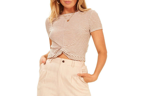 STRIPED TWIST FRONT TEE - IB19S1004