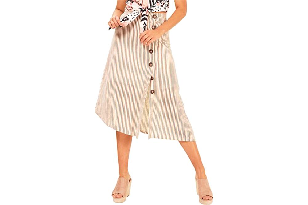 STRIPED KNIT MIDI SKIRT - IB19S1030 WOMENS SOFTGOODS MINK PINK