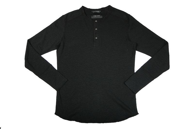 1X1 SLUB RIB L/S HENLEY MENS SOFTGOODS WINGS+HORNS BLACK XXL