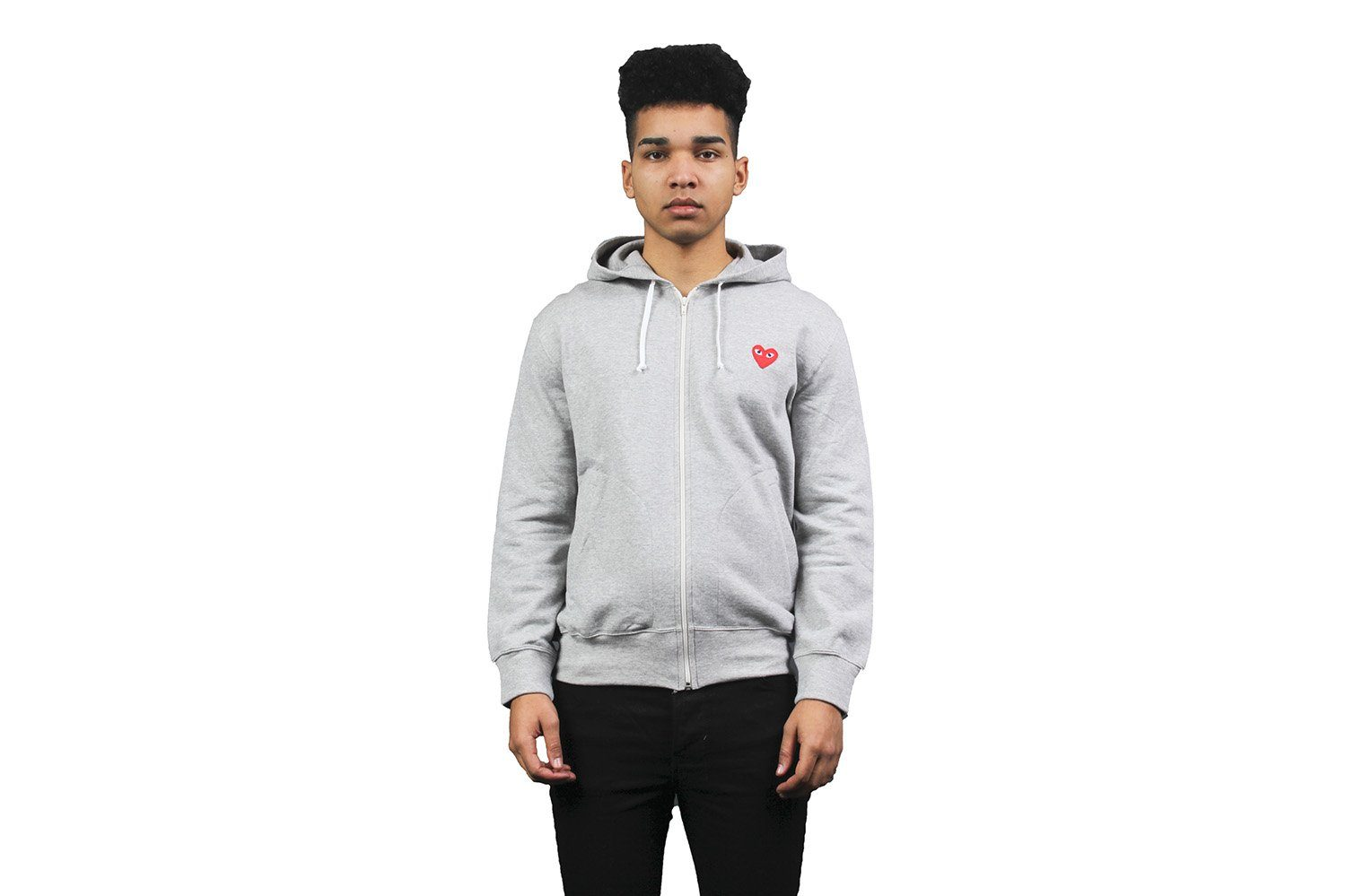 RED HEART GREY ZIP HOODIE - AZT250 MENS SOFTGOODS COMME DES GARCONS GREY S