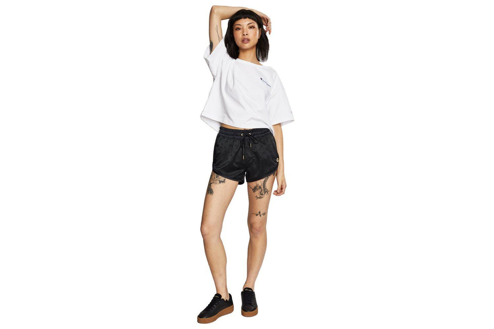 Champion Life® Women's Satin Shorts, Gold Lurex C Logo.