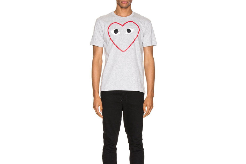 MENS TSHIRT BIG HEART PRINT RED OUTLINE-AZT266 MENS SOFTGOODS COMME DES GARCONS