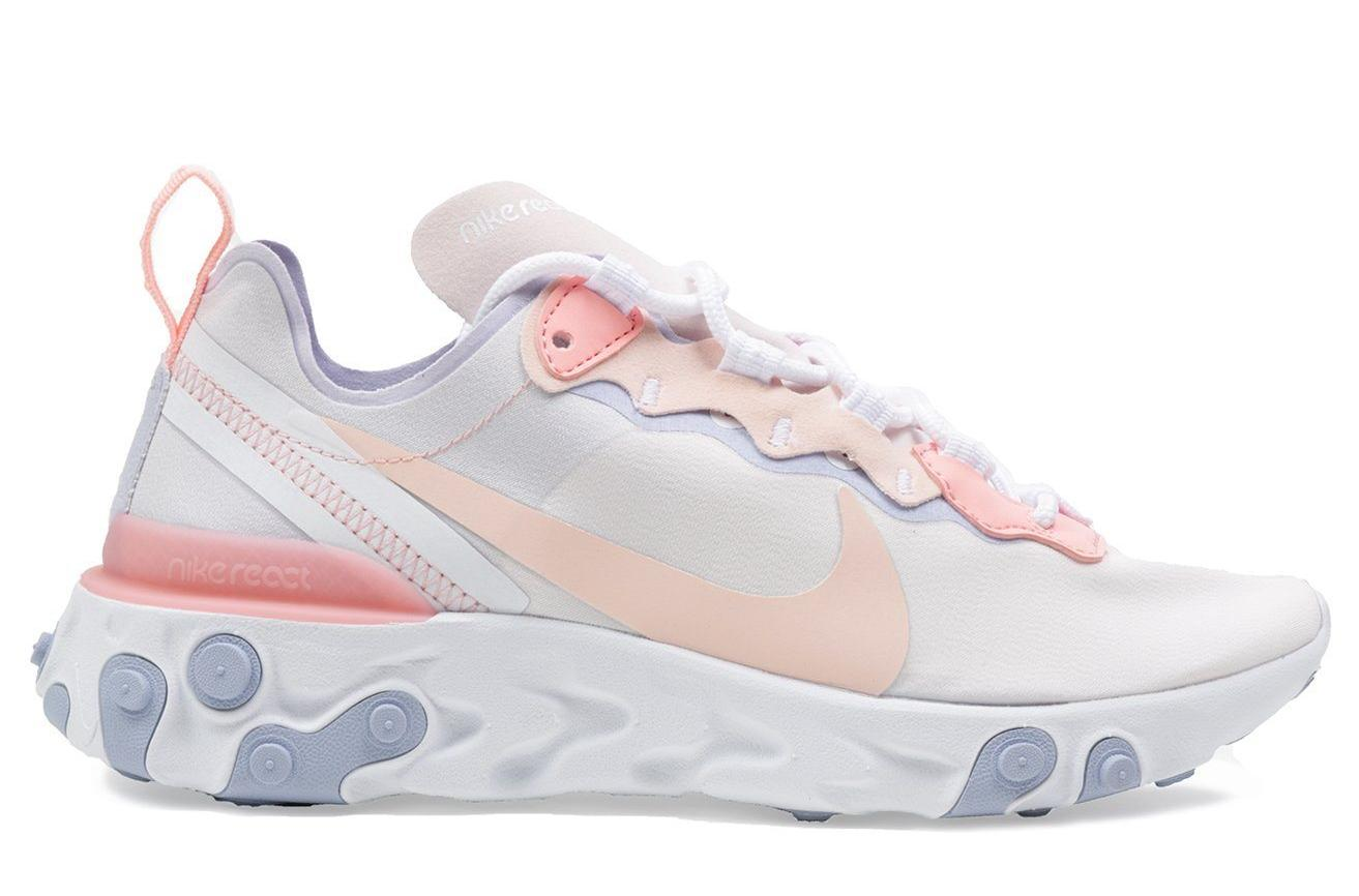W NIKE REACT ELEMENT 55 - BQ2728-601 WOMENS FOOTWEAR NIKE 5.5 PALE PINK/WASHED CORAL-OXYGEN PURPLE