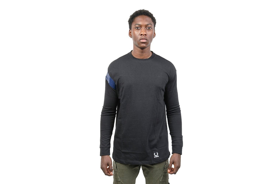 RS TAPE DETAIL L/S TEE - SM4105 MENS SOFTGOODS FRED PERRY BLACK 38