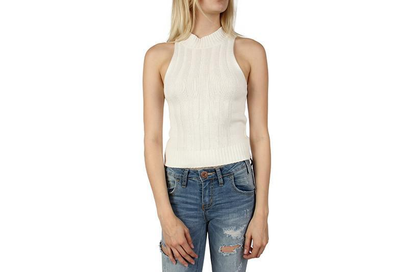 READ ON HIGH NECK TOP WOMENS SOFTGOODS MINK PINK white L