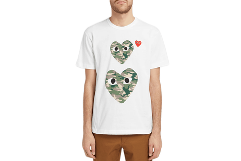 TWIN CAMOUFLAGE HEARTS MENS SOFTGOODS COMME DES GARCONS