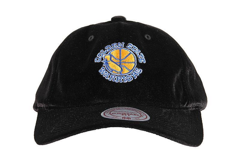 NBA GOLDEN STATE WARRIORS HWC VELOUR SLOUCH HAT HATS MITCHELL & NESS BLACK ONE SIZE