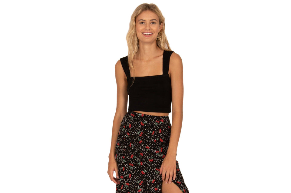 EASY LOVE CROP KNIT TOP [BLACK] - A905LEAS WOMENS SOFTGOODS AMUSE SOCIETY