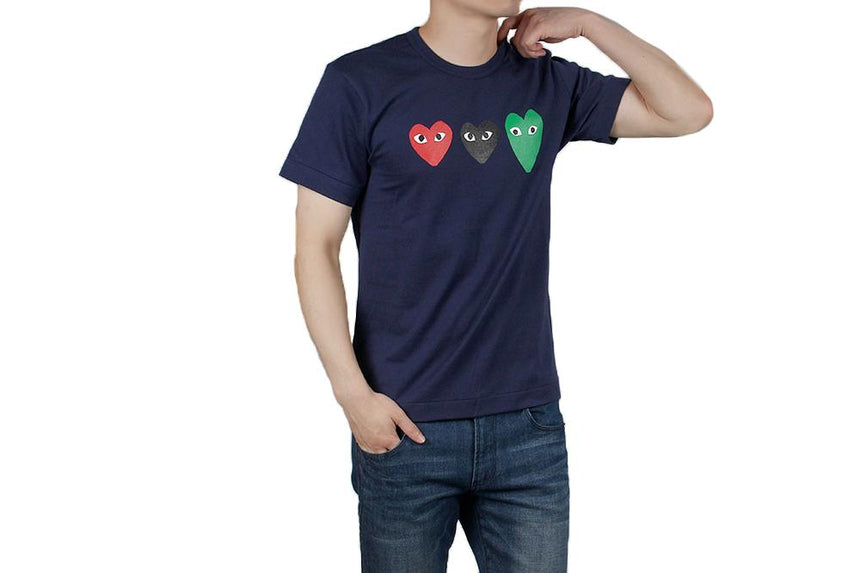 TRIPLE RED/BLACK/GREEN HEARTS T-SHIRT - AZT186 MENS SOFTGOODS COMME DES GARCONS