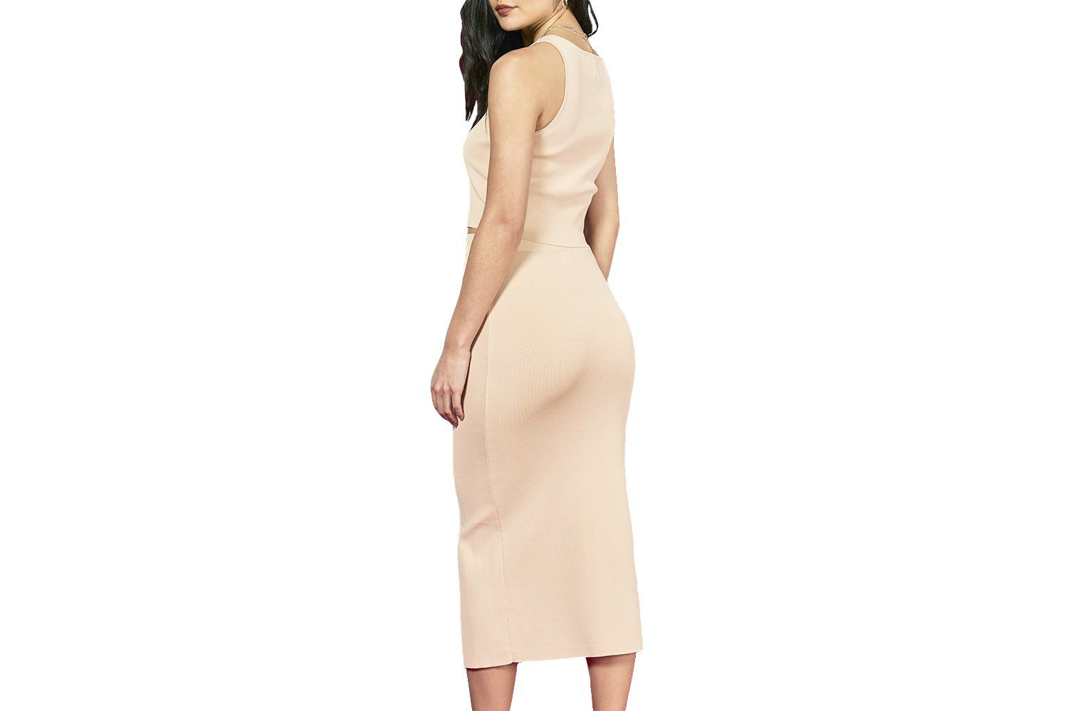 KNIT SPLIT MIDI SKIRT WOMENS SOFTGOODS MINK PINK