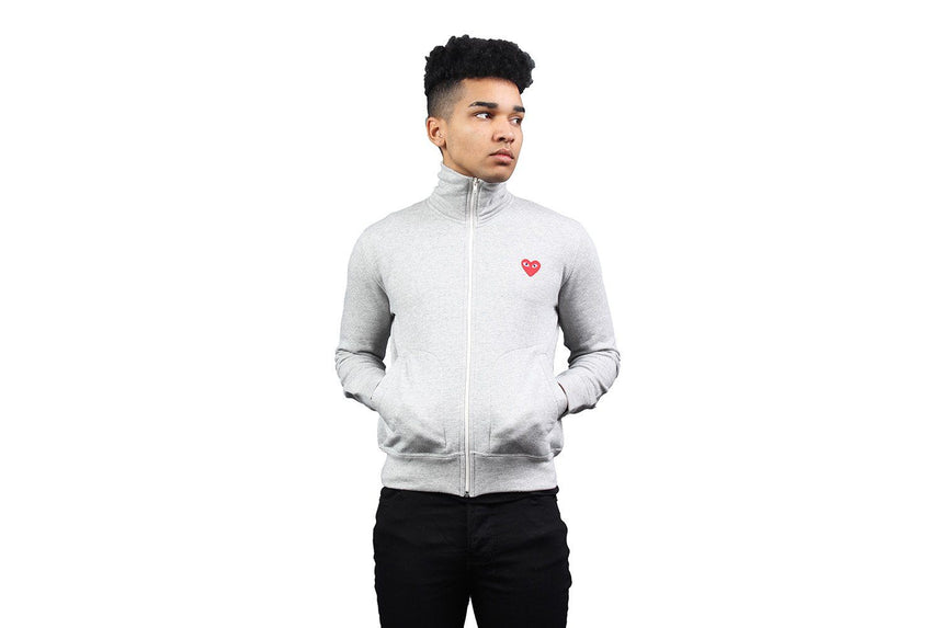 RED HEART GREY ZIP HOODIE MENS SOFTGOODS COMME DES GARCONS