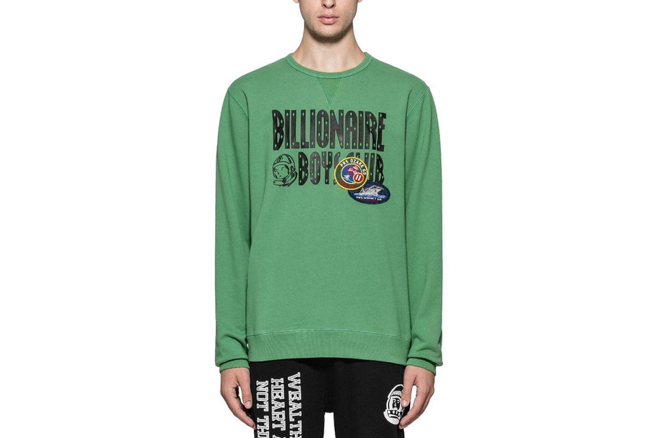 BILLIONAIRE BOYS CLUB DECORATED LOGO CREW NECK SWEATSHIRT IN GREEN.