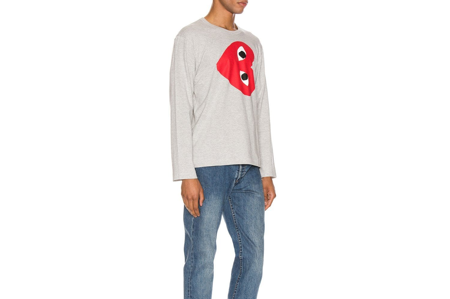 MENS LONG SLEEVE BIG HEART SIDE WAYS-AZT268 MENS SOFTGOODS COMME DES GARCONS
