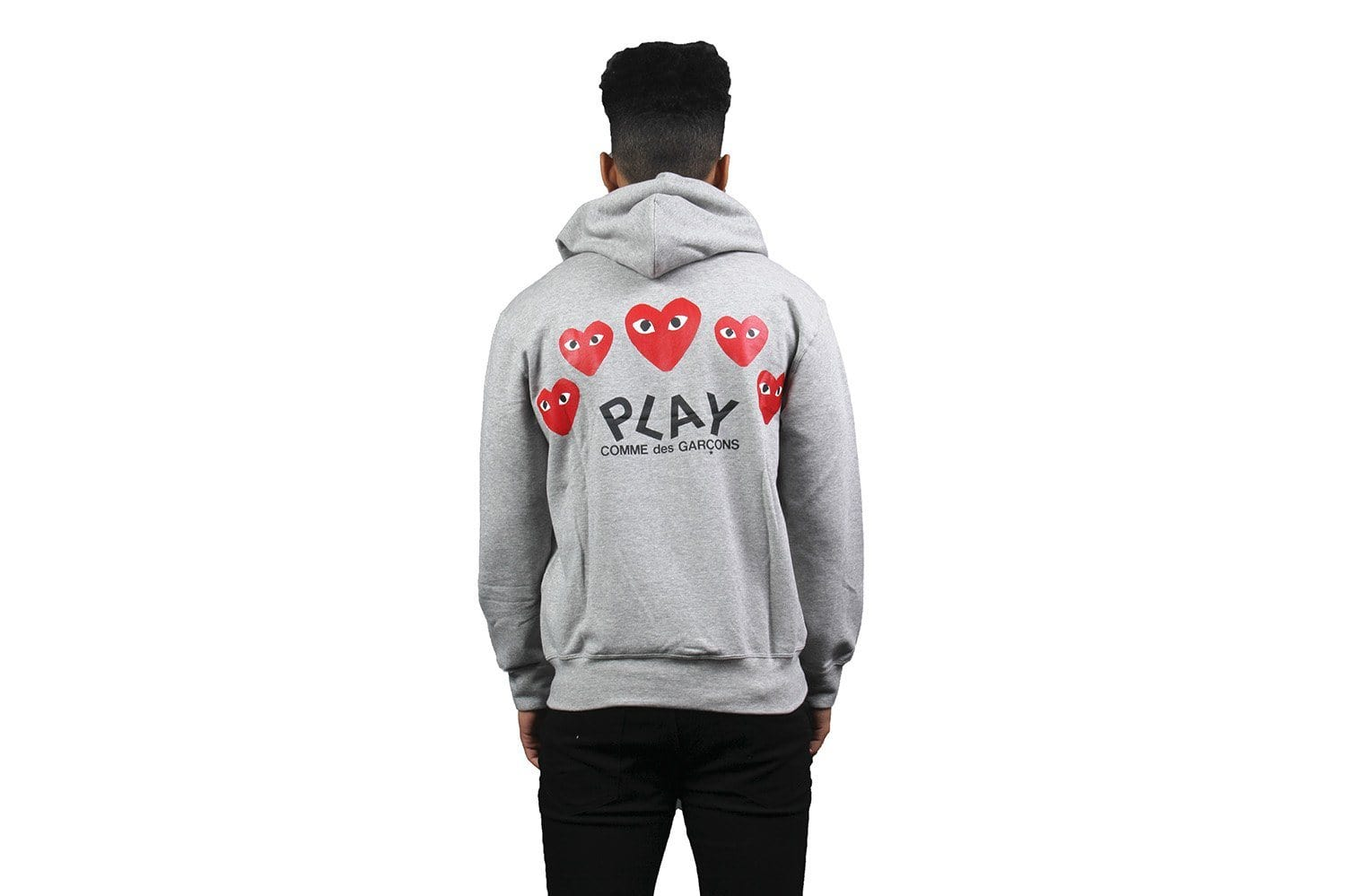 RED HEART GREY ZIP HOODIE - AZT250 MENS SOFTGOODS COMME DES GARCONS