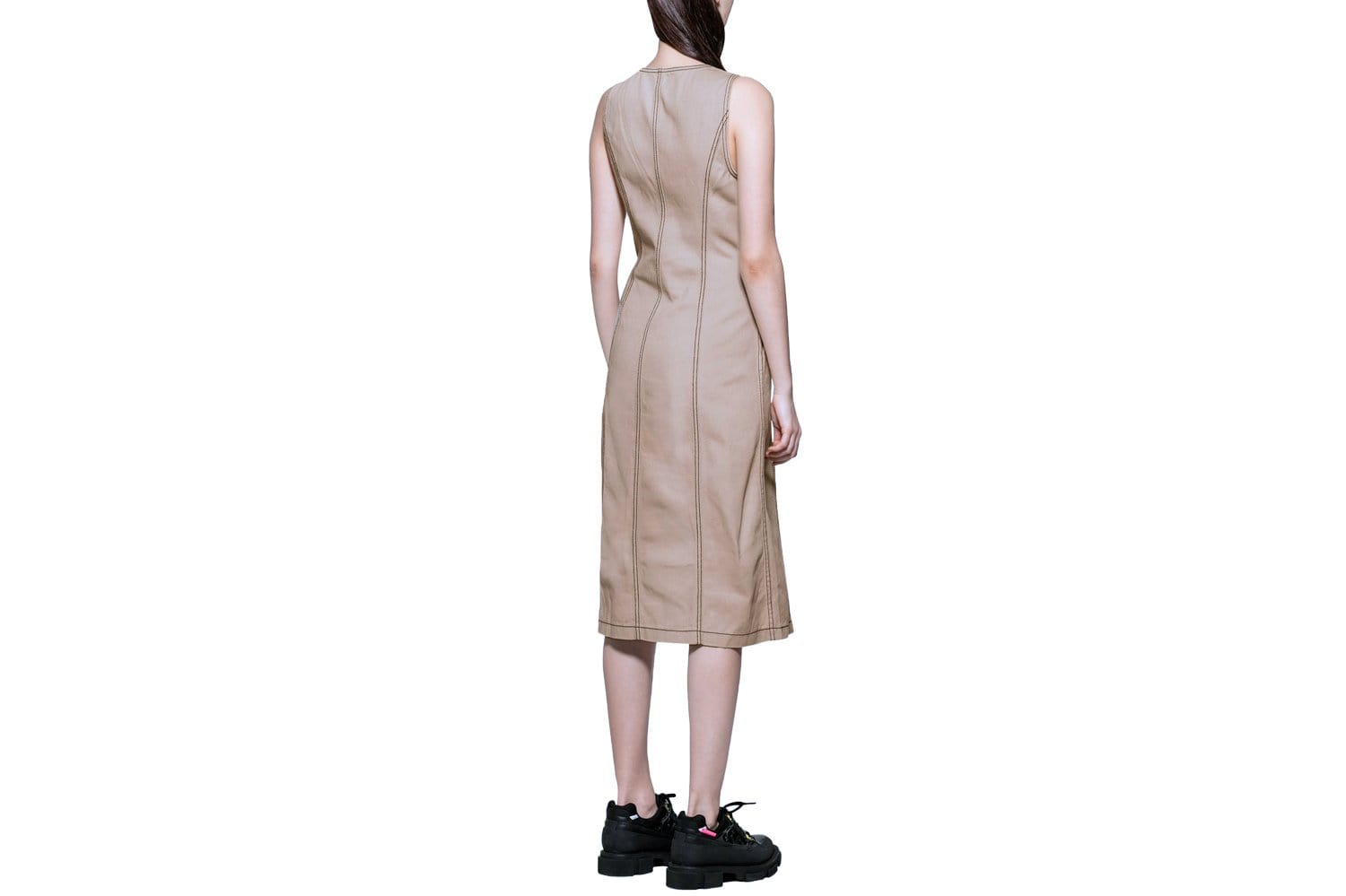 Bailey contrast stitch dress in sand/tan by Stussy.