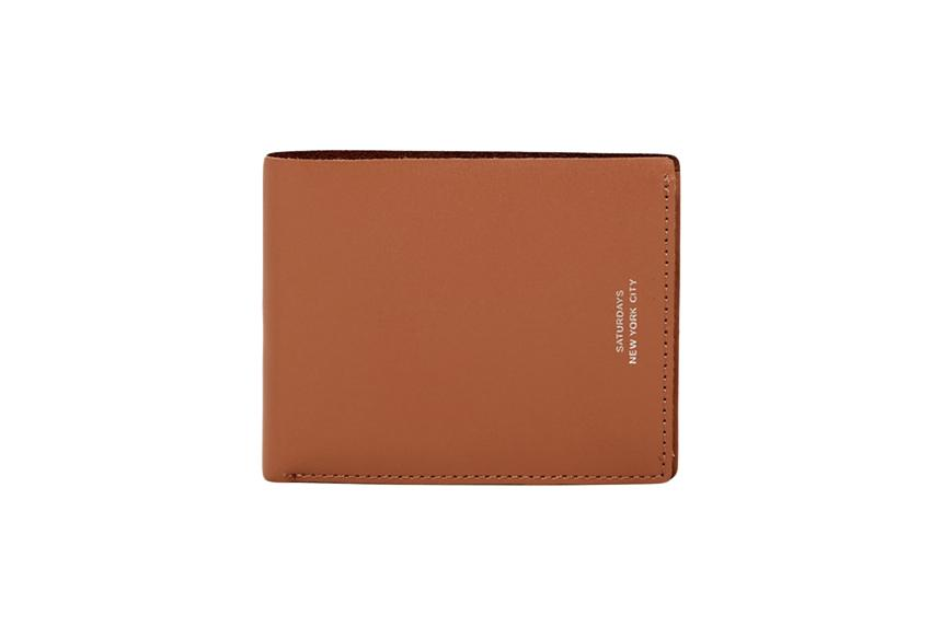 BI FOLD WALLET ACCESSORIES SATURDAYS NYC TAN LEATHER ONE SIZE