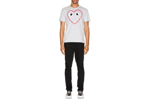 MENS TSHIRT BIG HEART PRINT RED OUTLINE-AZT266