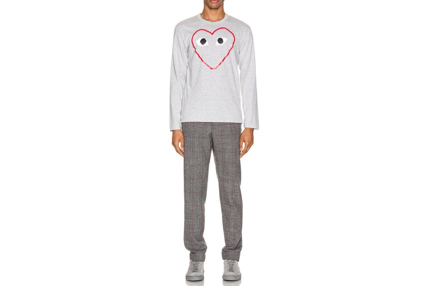 MENS LONG SLEEVE BIG HEART PRINT RED OUTLINE-AZT270 MENS SOFTGOODS COMME DES GARCONS