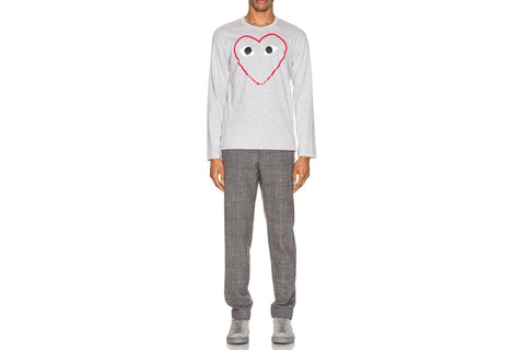 MENS LONG SLEEVE BIG HEART PRINT RED OUTLINE-AZT270
