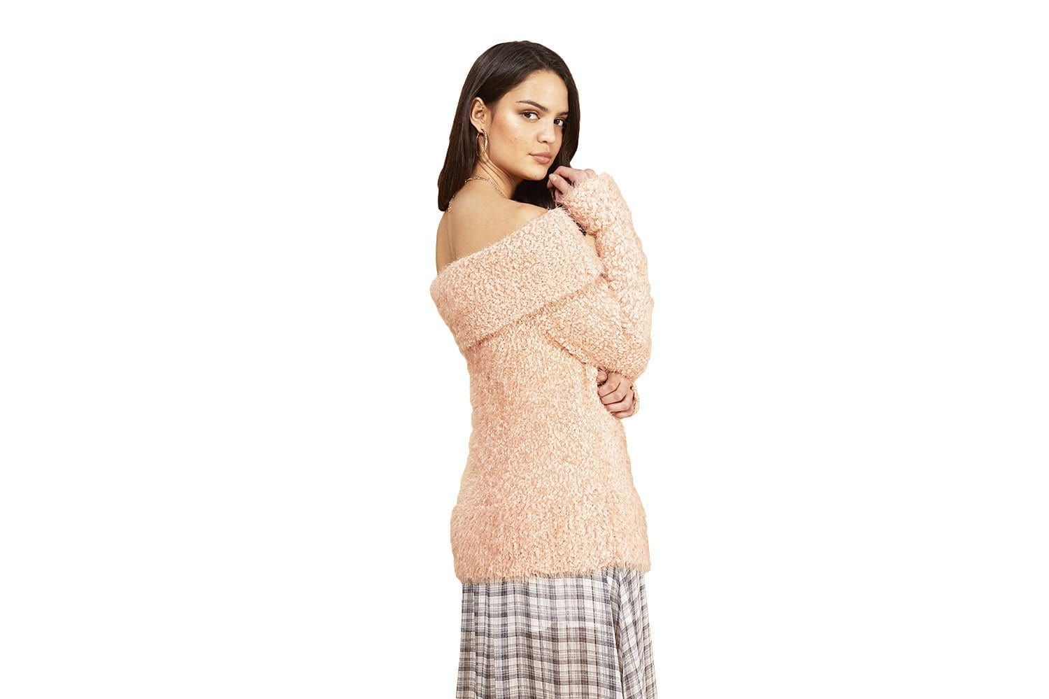 OFF SHOULDER SWEATER - IM19F1825 WOMENS SOFTGOODS MINK PINK