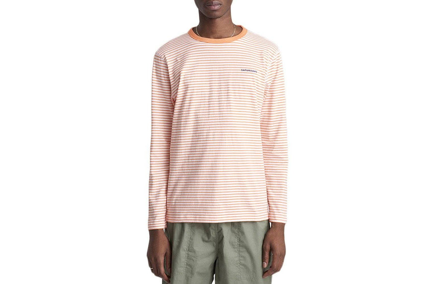 ALEK FEEDER STRIPE L/S TEE - M21911AK01 MENS SOFTGOODS SATURDAYS NYC