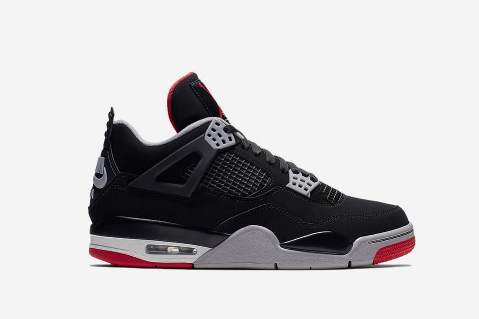 AIR JORDAN 4 RETRO - 308497-060 BRED MENS FOOTWEAR NIKE