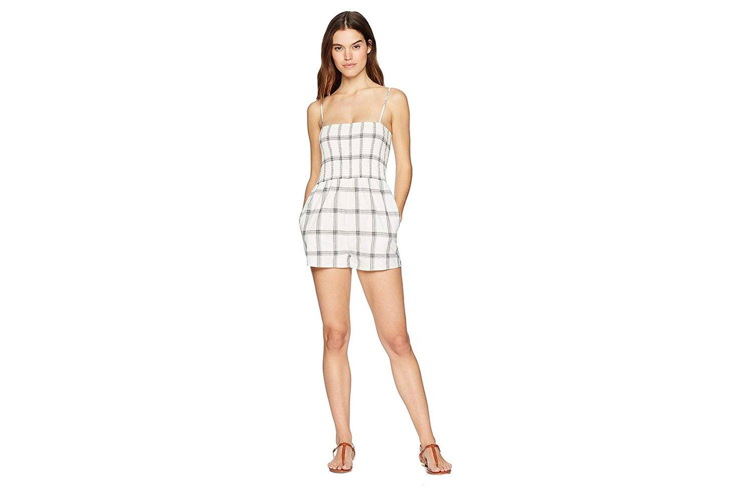 SMOCKED CHECK PLAYSUIT WOMENS SOFTGOODS MINK PINK WHITE/BLACK XS IB18S1454