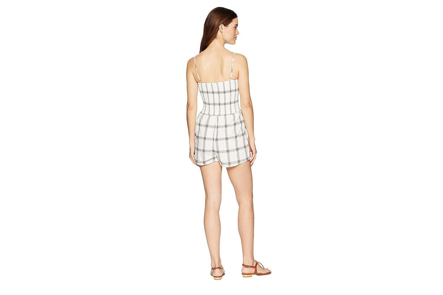 SMOCKED CHECK PLAYSUIT WOMENS SOFTGOODS MINK PINK