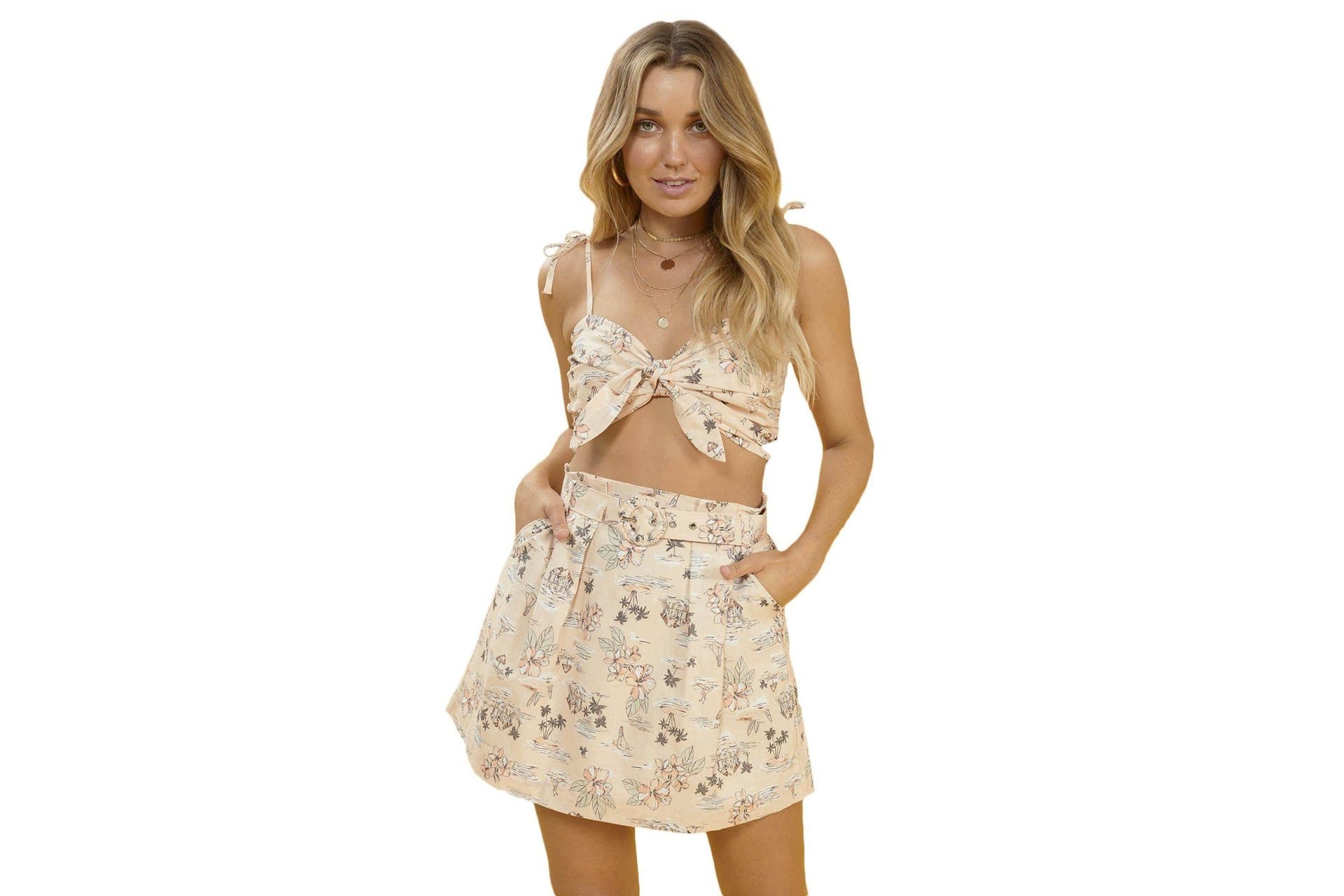 TROPICAL TIDES SKIRT - IM19S1436 WOMENS SOFTGOODS MINK PINK