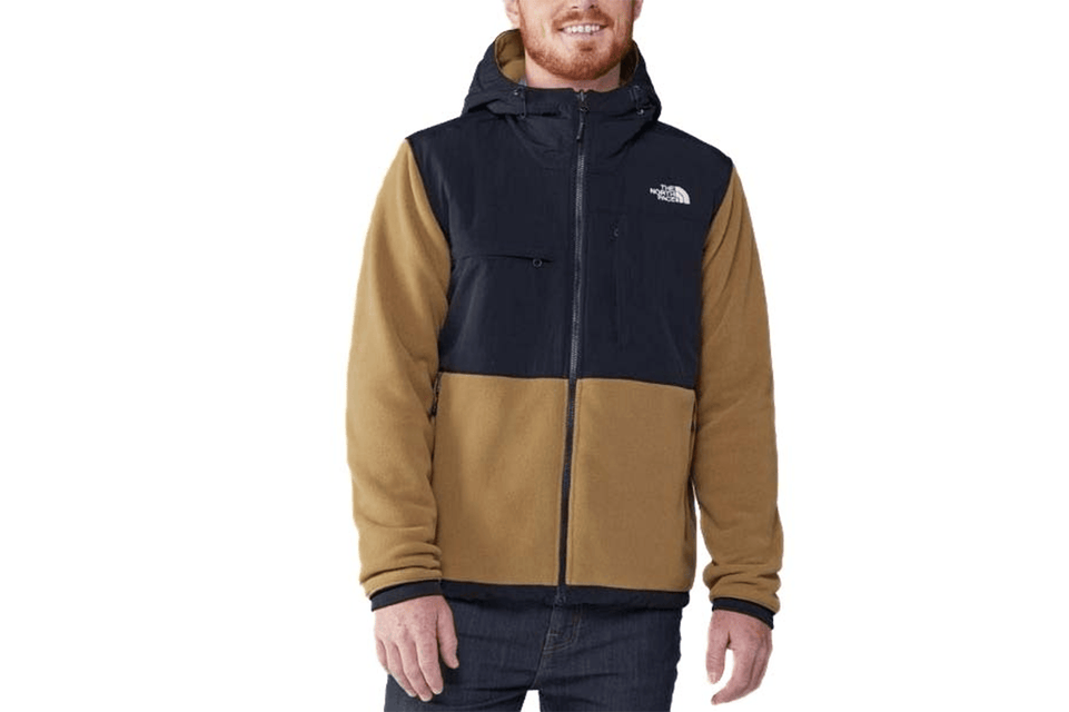 The North Face's warm, recycled-fleece jacket has the original 1995 Denali silhouette in khaki. Front view.