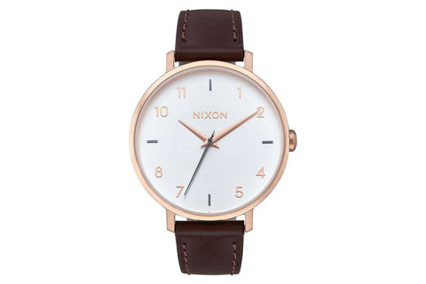 ARROW LEATHER WATCHES NIXON ROSE GOLD / SILVER 38MM