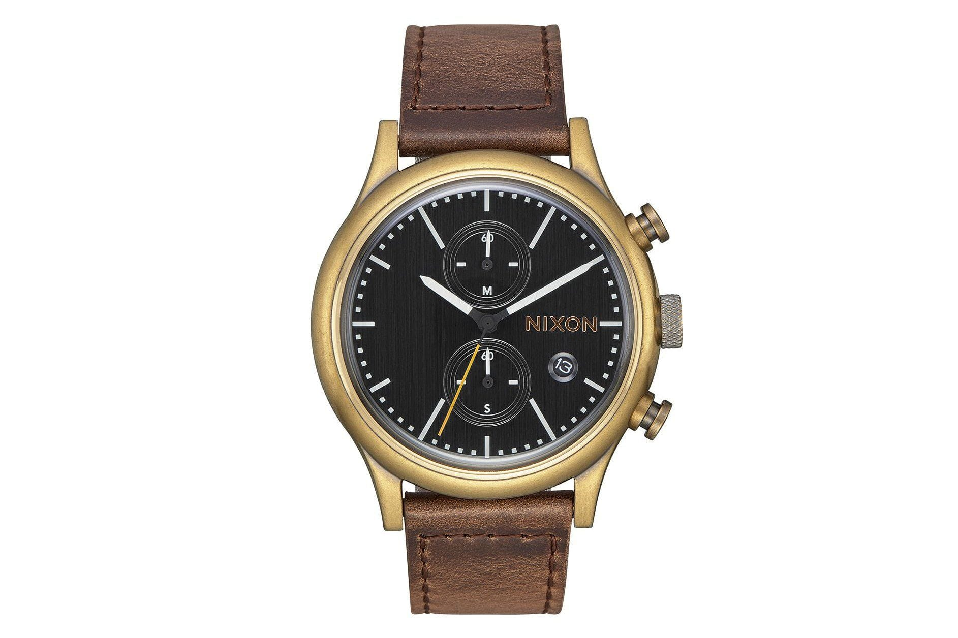 STATION CHRONO LEATHER WATCHES NIXON BRASS/BLACK/TAUPE ONE SIZE