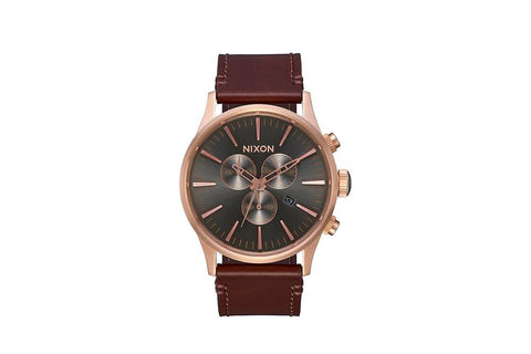 SENTRY CHRONO LEATHER ROSE GOLD GUNMETAL BROWN