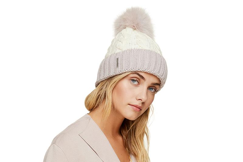 AMALIE-T LADIES TUQUE FUR POMPOM WOMENS HATS SOIA & KYO QUATZ ONE SIZE