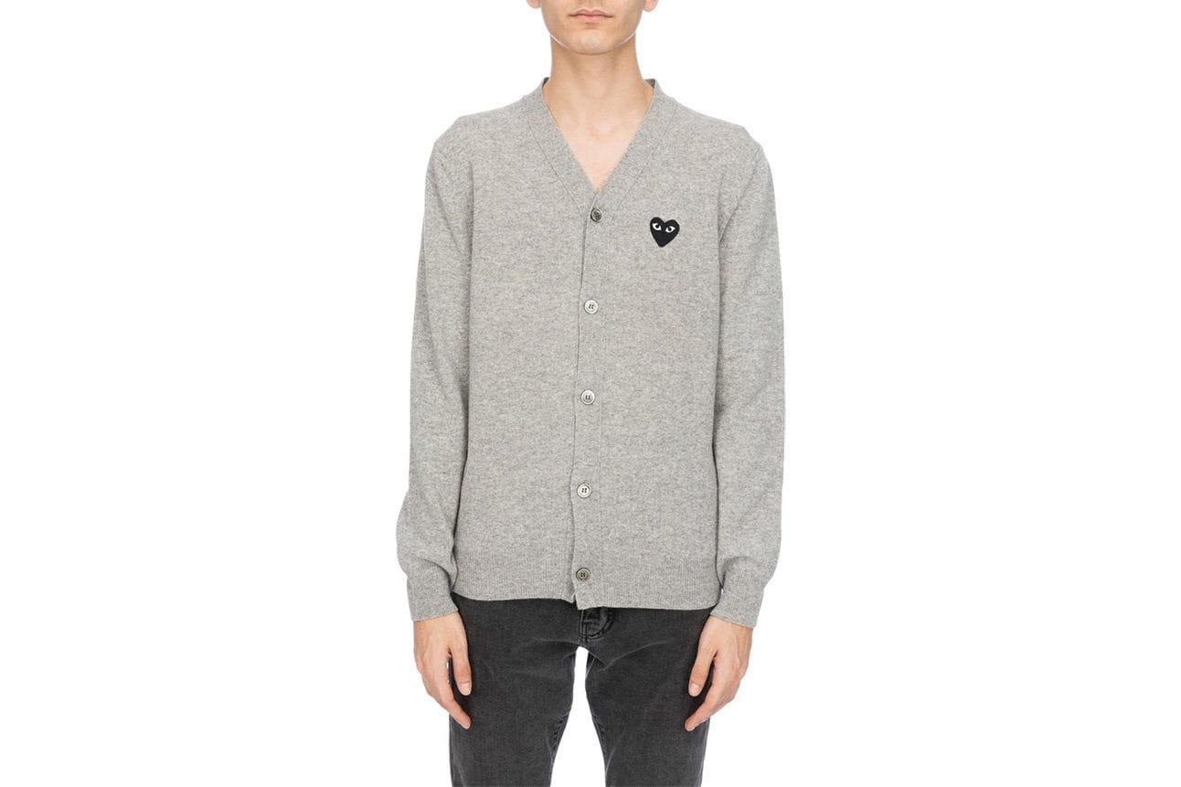 BLACK HEART GREY CARDIGAN MENS SOFTGOODS COMME DES GARCONS