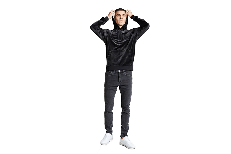 ASHER VELOUR HOODIE - LM181LY6 - 001 MENS SOFTGOODS FILA