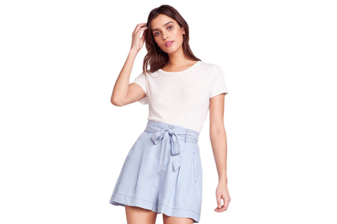 NICE N EASY HIGH WAISTED SHORTS WOMENS SOFTGOODS BB DAKOTA 2 CHAMBRAY