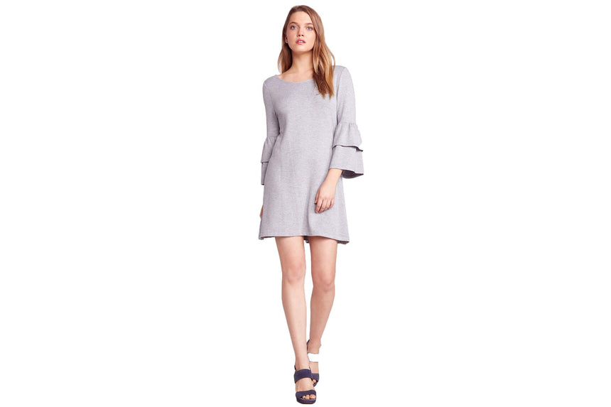 LOST IN THE SONG RUFFLE SLEEVE DRESS WOMENS SOFTGOODS BB DAKOTA XS LIGHT HEATHER