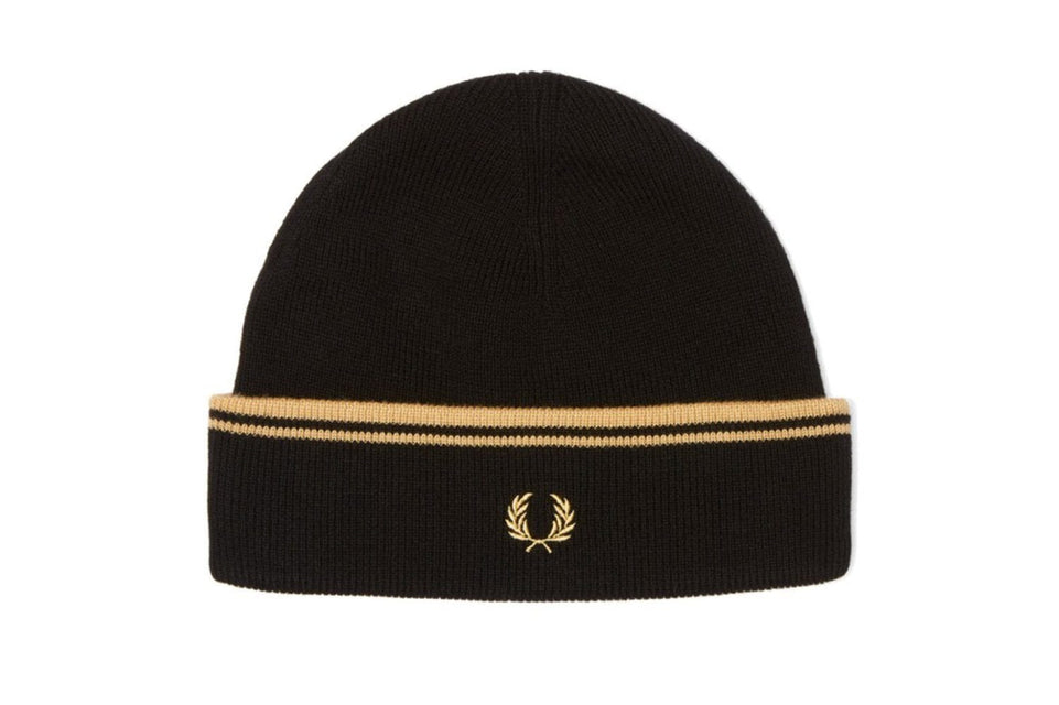 TWIN TIPPED MERINO WOOL HATS FRED PERRY BLACK MENS