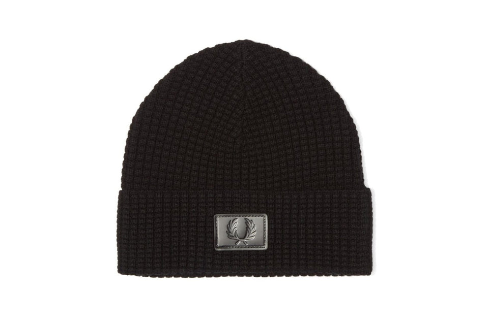 WAFFLE KNIT BEANIE HATS FRED PERRY BLACK ONE SIZE