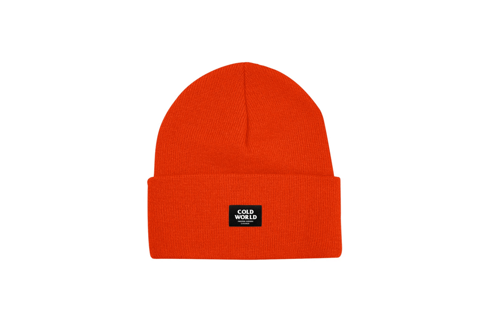 Cold World Frozen Goods Logo Orange Beanie.
