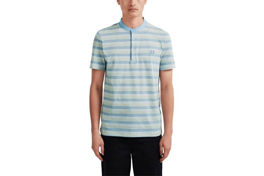COLLARLESS STRIPED PIQUE SHIRT - M8801 MENS SOFTGOODS FRED PERRY