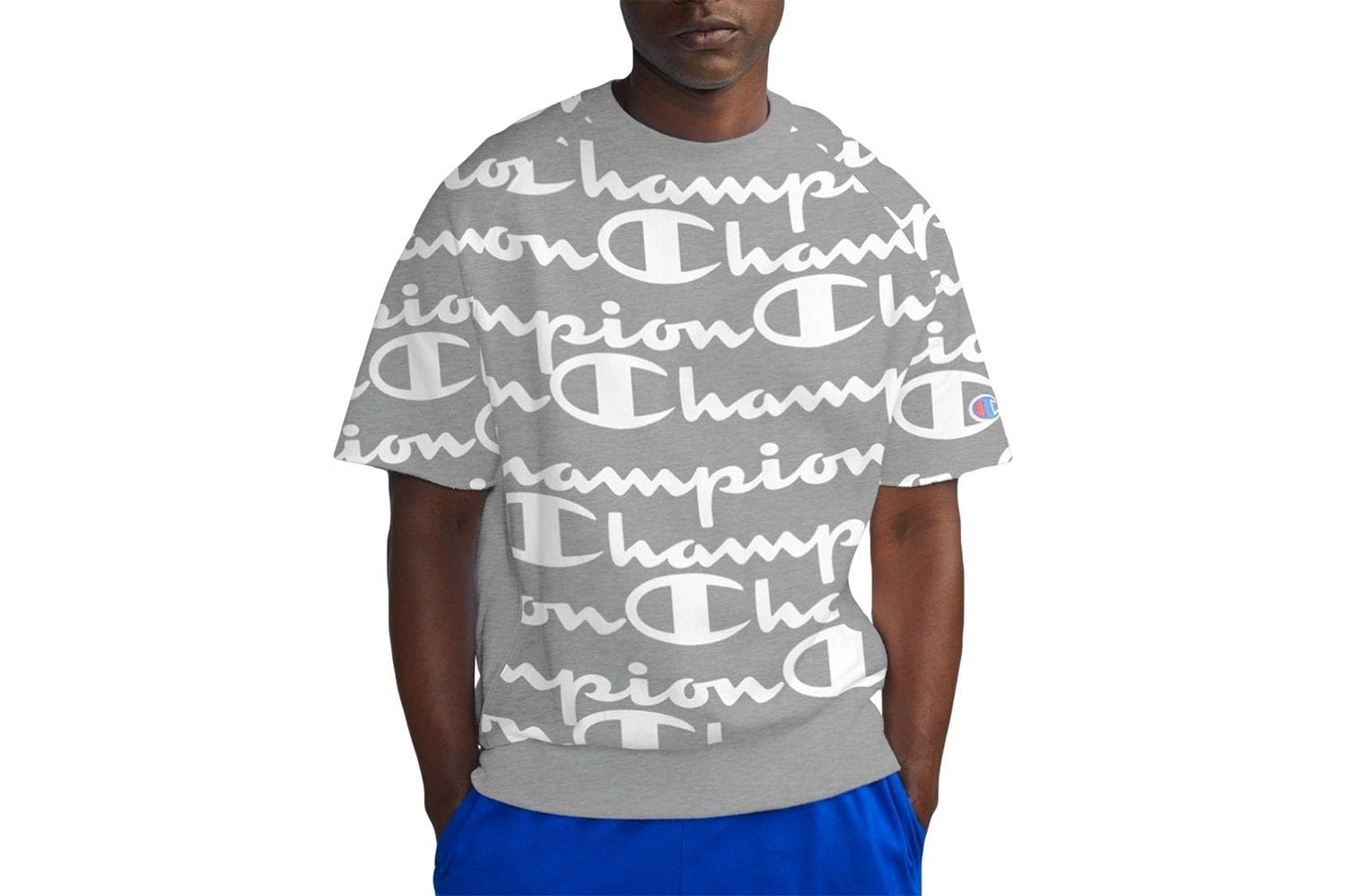 REVERSE WEAVE SHORT SLEEVE CREW AOP GIANT SCRIPT - T9596P MENS SOFTGOODS CHAMPION