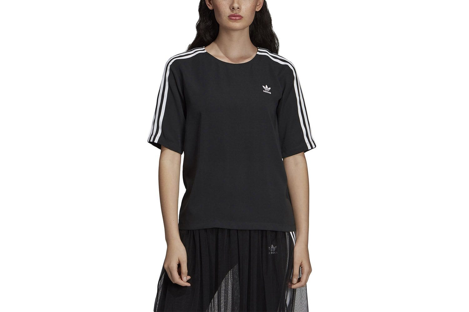 3 STRIPES TEE - DX3695 WOMENS SOFTGOODS ADIDAS XS BLACK